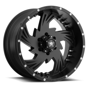 Luxxx HD 7 20X10 Satin Black with Spikes