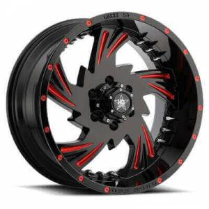 Luxxx HD 7 20X10 Gloss Black Red Milled with Spikes